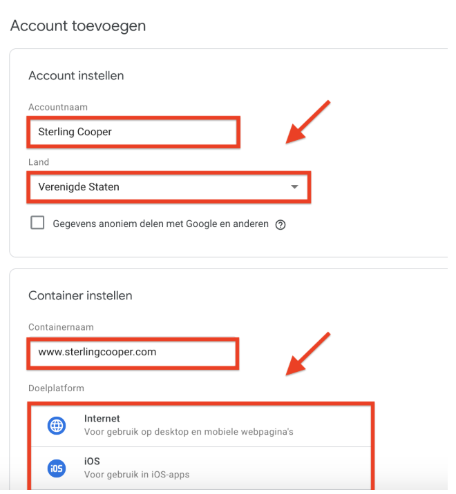 Google Tag Manager installeren - stap 1 - Account opzetten