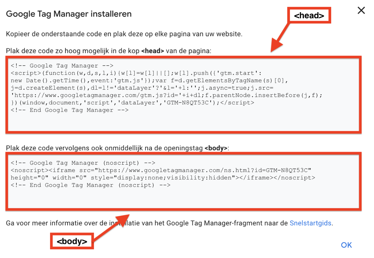 Google Tag Manager installeren - stap 2 - plaats de google tag manager snippet op je site