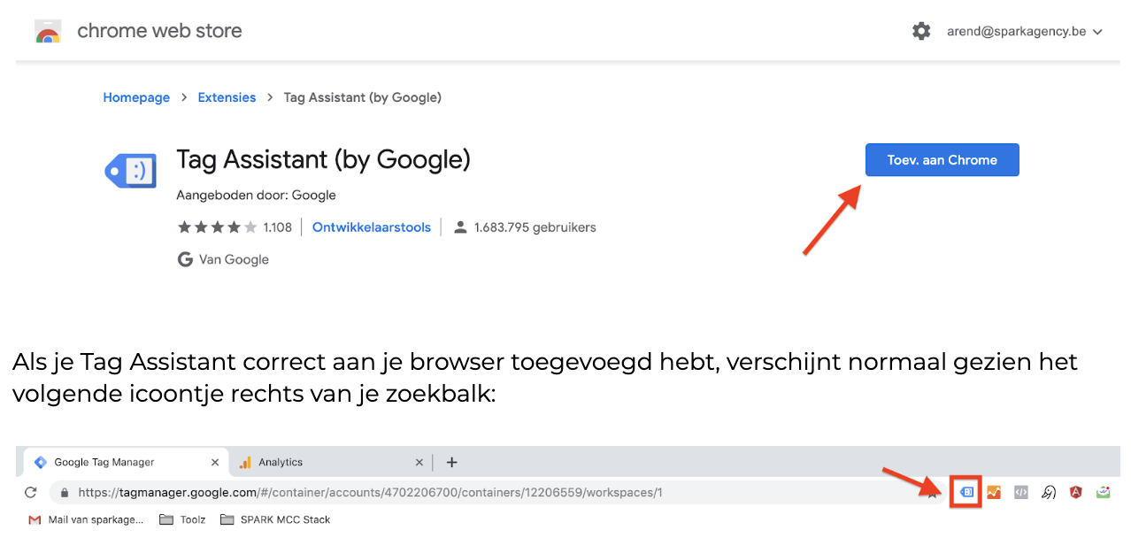 Google Tag Manager - screenshot in Tagmanager