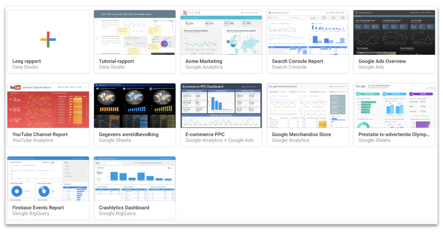 Dashboards bouwen in Google Data Studio via templates