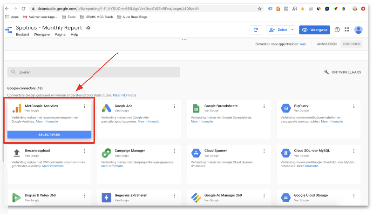 Data connecteren naar Google Data Studio